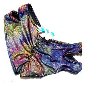 Holographic Festival mini shorts NWT Iheartraves